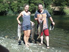 Andy M and daughter Salmon Fishing on Trinity River CA