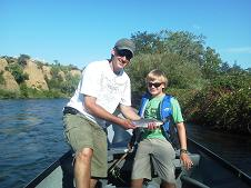 Brett and Son Fly Fishing Sac River Aug 2012 Sundial Bridge Float
