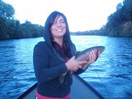 Christine Hector with Rainbow Trout on th Sacramento River