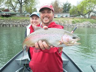 Hookem Hecky and Kim on flyfishing trip sacramento river
