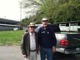 Larry and Bill getting ready to fish on Sacramento River Sundial Bridge Float