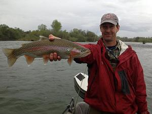 Phillip and Logan Fly Fishing Trip Sundial Bridge to Anderson Boat ramp Rainbow Trout